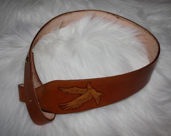 Rifle sling with Eagle tooled design - hand made