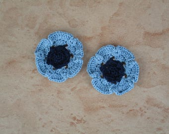 set of 2 anemones crochet sky blue