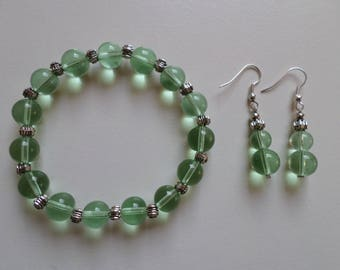 Green and silver pearl earrings