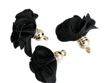 10 charms Golden-black - Polyester - 27x25mm tassels