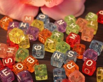 100 Acrylic beads Alphabet cubes 10mm multicolored