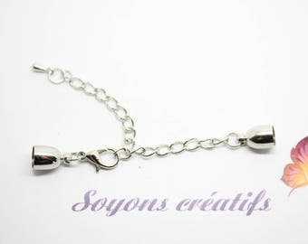 1 silver clasp Extension chain at 25mm - SC78541 matte