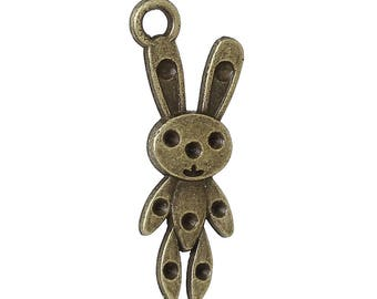 10 Charm pendants charms Bronze Bunny blanket-31x13mm SC69081