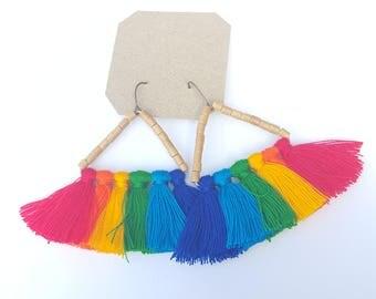 Triangular Rainbow Tassel Earrings