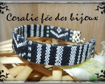 Bracelet ethnic 10 mm black and White Ribbon