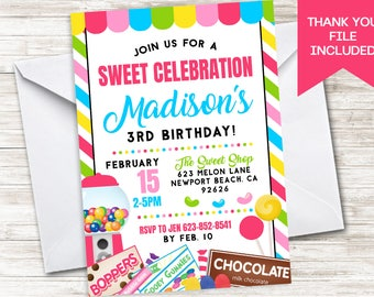 Candy Invite Invitation Birthday Party Digital 5x7 Candyland Themed Girls Sugar Sweet Shop