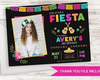 Fiesta Photo Invitation Invite 7x5 Girls Kids Birthday Party Siesta Fun Colorful Bright Digital Chalkboard Coco Inspired