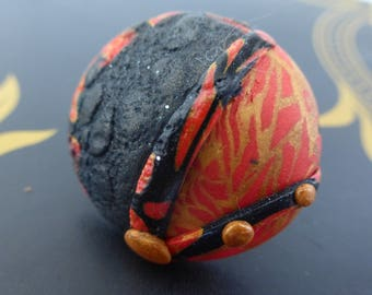 Ethnic red embossed Adjustable ring black gold