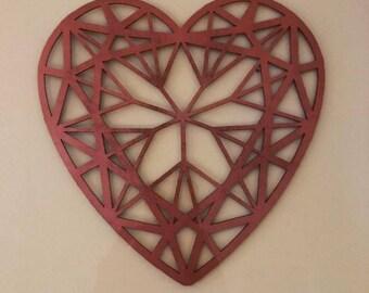 Copper Geometric Heart Wall Art