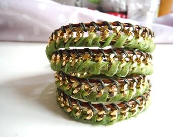 Bracelet model chan luu gold metal chain with Leather Wrap Bracelet