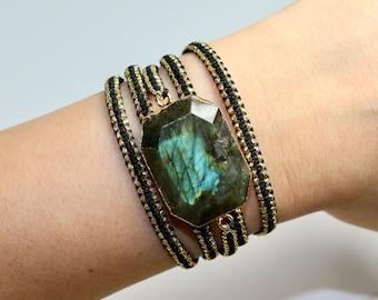 Labradorite bracelet ,Gemstone bracelet ,Macrame bracelet ,Labradorite gemstone jewelry ,Women bracelet ,Gold , Gold plated bracelet ,Boho