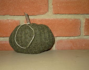 100% Felted wool autumn fall upcycled sweater gourd pumpkin green
