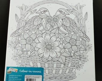 printed on frame coloring painting bird in a basket filled with flower 245 x 29 - Velvet Coloring Book