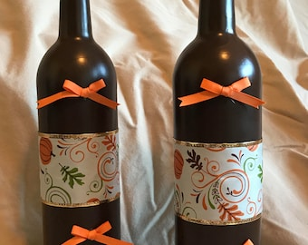 2 Dark Brown painted glass bottles with fall ribbons