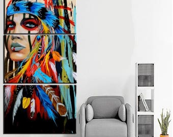 Charmant Beauty Art Canvas Framed Native American Indian Wall Art Decor