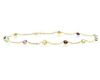 14k Yellow Gold Handmade Station Anklet With Gemstones By the Yard