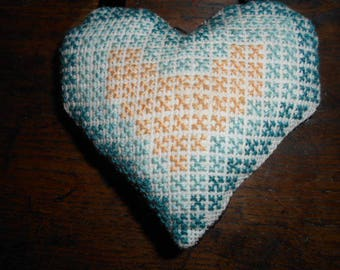 hand embroidered blue heart