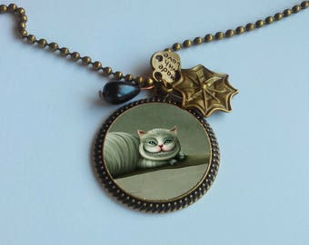 Long fashion - alice's cat pendant necklace
