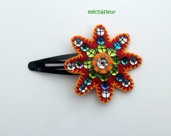 mechafleur:Barrette colored felt embroidered with sequins