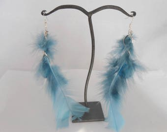 Blue Murano glass bead and blue feather earrings