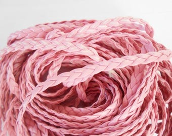 Pink artificial color 5 mm leather braided cord 1 m