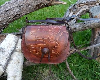"""Brown Messenger bag """"treasure map"""""""