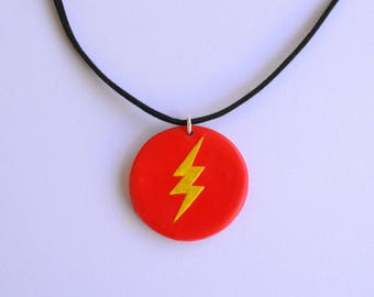 Flash (DC Comics) - polymer clay round pendant necklace