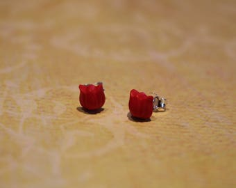 Earring studs Sterling Silver 925 red tulips