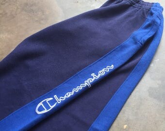 Rare! Vintage Champion Jogger Pants Big Spell Embroidered 90s L Size Rare Item