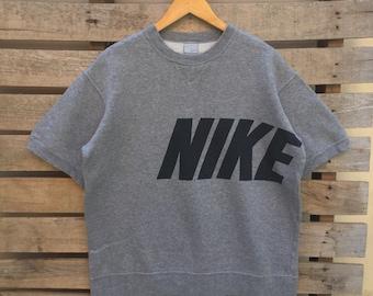 Rare! Vintage Nike Short sleeve  Sweatshirt Big Logo Big Spell Out Jumper Pullover 90s M Size Hypebeast Hip Hop