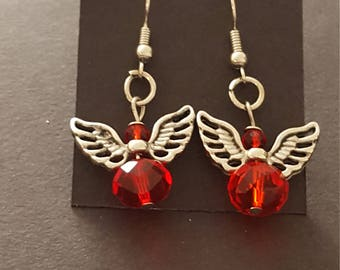 Earrings - Drop Angel w/Red