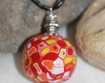 necklace was ball red yellow orange and white