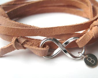 Leather bracelet and sterling silver infinity personalized N3341
