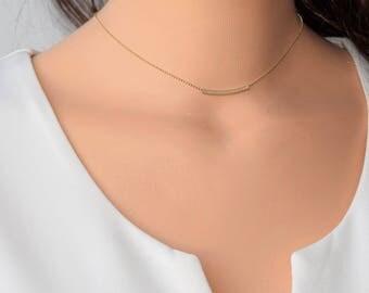 Gold Choker Necklace,Dainty Choker Necklace,Gold Bar Choker,Dainty Necklace,Minimalist Choker Necklace,Gold Jewelry,Simple Modern Necklace