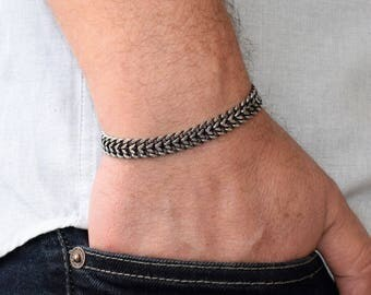 Men's Silver Bracelets, Men's Bracelet, Men's Chain Bracelet, Elegant Bracelet For Men ,Men's Jewelry, Men Bracelet Gift, Father's Gift