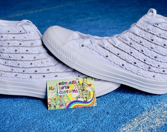 Wedding Converse /  Bridal Sneakers / Custom Bride All Stars / Personalised Converse Wedding / Wedding shoes flat / Wedding shoes lace