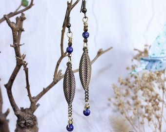 Bronze earrings, lapis lazuli, leaves and chains
