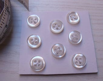 "8 buttons ""Pearly"" white four hole """""