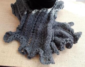 Scarf neck fancy stitch knit