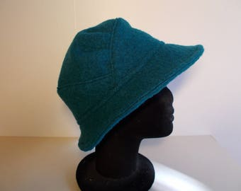 Turquoise blue boiled wool fabric Hat
