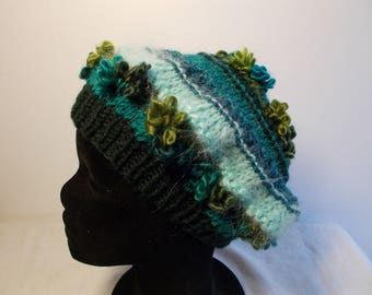 Knitted striped turquoise/Green