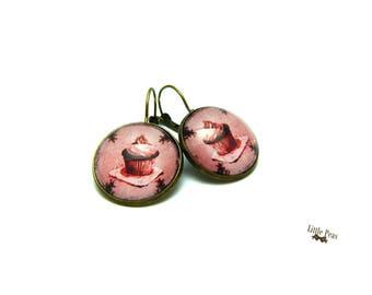 Cupcake earrings retro vintage glass dome