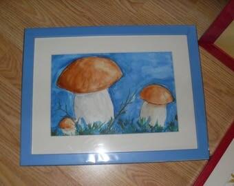 Prix réduit-aquarelle encadrée les champignons