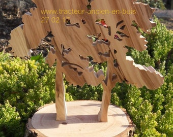 """""""Two pine trees in the Park"""" wooden tree wall decor with its base to stick"""