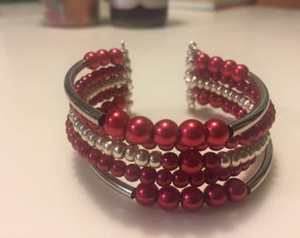 Red and Silver Memory Wire Cuff Bracelet