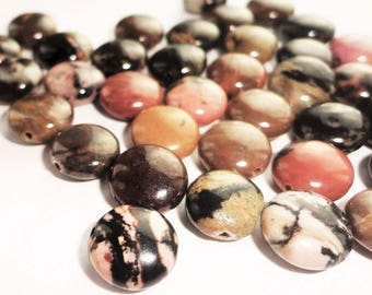 4 beads round natural rhodonite stone