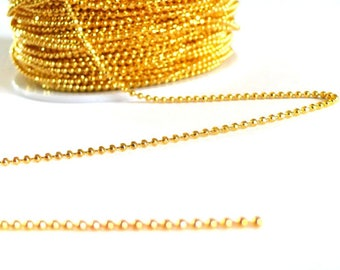 Thin 1.5 mm gold faceted ball chain