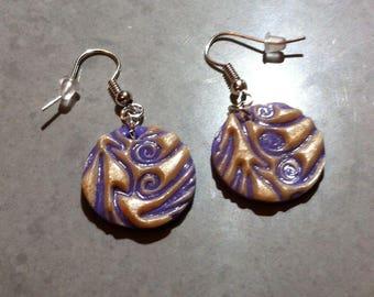 Purple earrings, metallic white arabesques