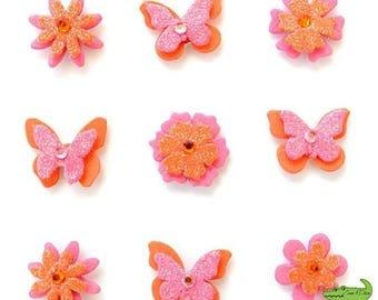 Decorative 3D butterfly, flowers, pink and orange, foam, 9 pieces, scrapbooking, 2 x 2 cm.