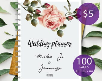 Custom Wedding Planner Wedding Planner Organizer Engagement gift for Bride Bridal Gift Idea Wedding Planning Guide forever and always